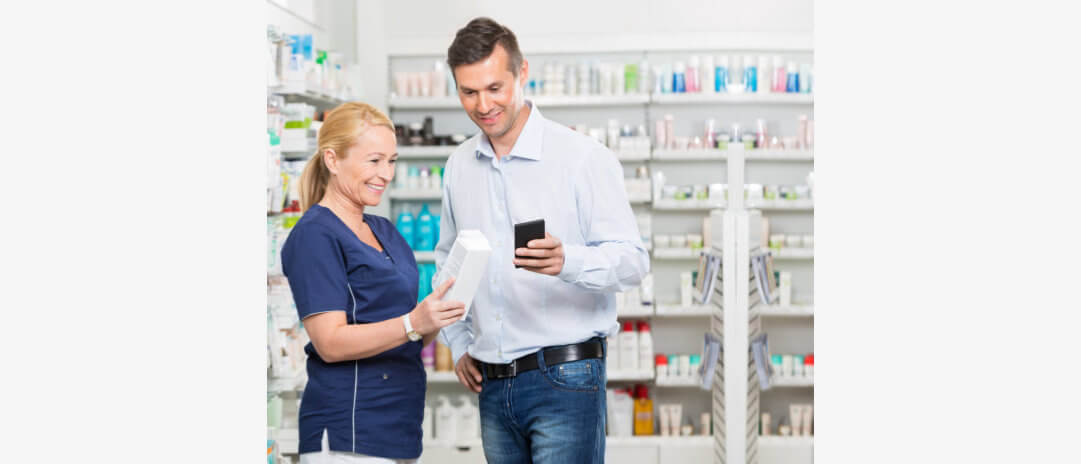 pharmacist talking to the customer